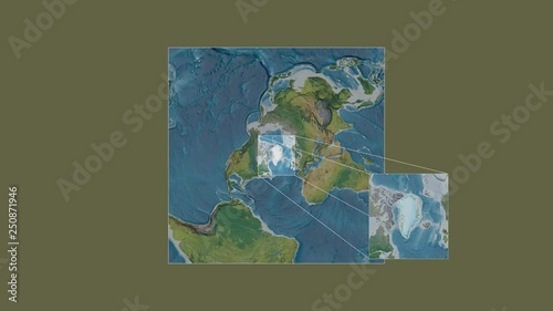 Greenland area framed and extracted from the global topographic map ...