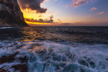 Lovely Evening at Mondello, Sicily on Italy, in South Europe. Landscape Travel Picture