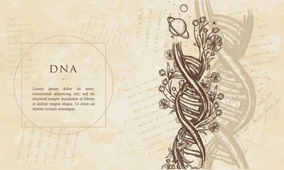 DNA. Renaissance background. Medieval manuscript, engraving art