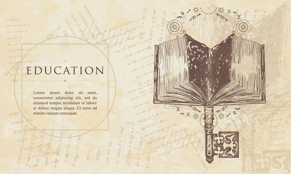 Open magic book and vintage key. Education concept. Renaissance background. Medieval engaving manuscript. Vintage paper with drawings, vector