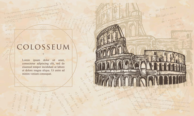 Colosseum.  Symbol of Ancient Rome, gladiator fights. Renaissance background. Medieval manuscript, engraving art