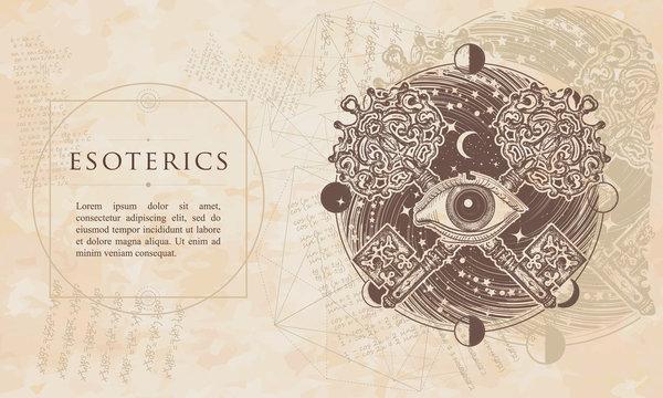 Esoterics. All seeing eye and crossed keys. Renaissance background. Medieval manuscript, engraving art