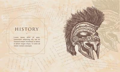 History. Ancient Spartan helmet. Renaissance background. Medieval manuscript, engraving art