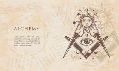 Alchemy. All seeing eye. Renaissance background. Medieval manuscript, engraving art