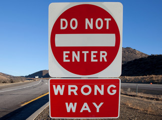 Do Not Enter and Wrong Way Signs