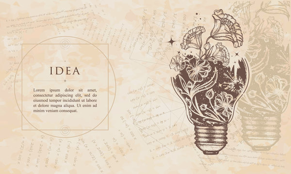 Idea. Light bulb and art nouveau flowers. Renaissance background. Medieval manuscript, engraving art