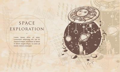 Space exploration. Human and Universe. Renaissance background. Medieval manuscript, engraving art
