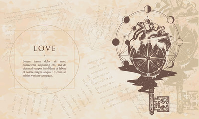 c051ee7f661cb Heart and vintage key tattoo and t-shirt design. Compass in the ...