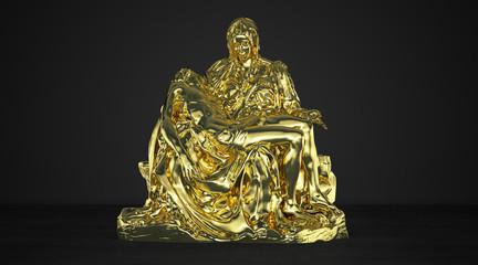 Pietà (Compassion) by Michelangelo, scan 3D, représentation en fil, déposition du Christ, crucifixion, art, sculpture, illustration 3d