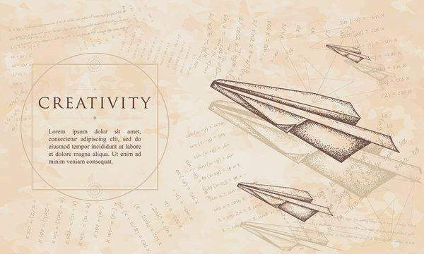 Creativity. Paper plane. Renaissance background. Medieval manuscript, engraving art