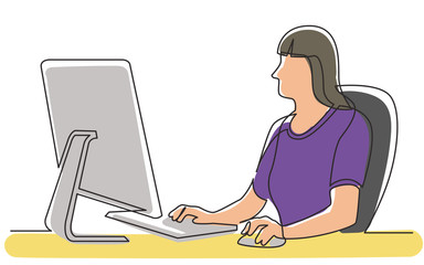 continuous line drawing of office female worker sitting working behind computer display