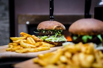 burger with baked rolls - fototapety na wymiar