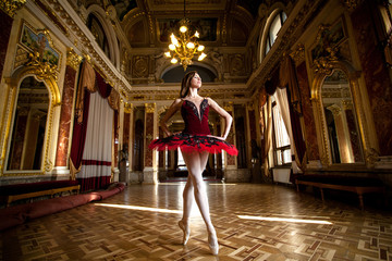 Beautiful ballerina dancing in a luxurious hall in a red dress.