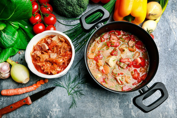 Goulash soup and colorful vegetables.