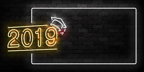 Vector realistic isolated neon sign of 2019 Graduation frame logo for template decoration and layout covering on the wall background.