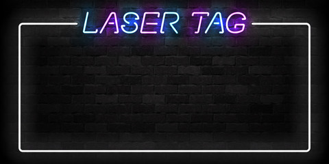 Vector realistic isolated neon sign of Laser Tag frame logo for decoration and covering on the wall background.