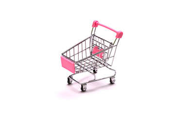 empty shopping cart on white background