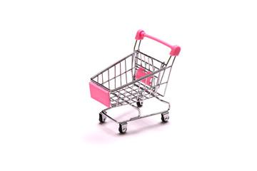 empty shopping cart on white background