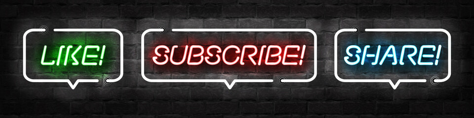 Vector set of realistic isolated neon sign of Subscribe, Like and Share logo for template decoration and covering on the wall background. Concept of social media and SEO.