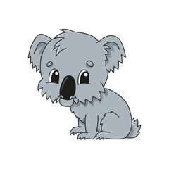 Grey koala. Cute flat vector illustration in childish cartoon style. Funny character. Isolated on white background.