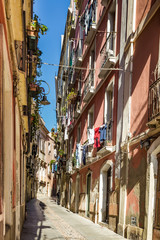 Narrow medieval streets of the old town of Cagliari, capital of Sardinia, Italy