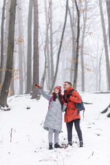 Photo sur Toile Gris Couple of tourists standing on the mountain and admires the snow landscapes