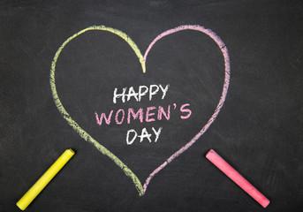 Happy Women's Day Text on Blackboard