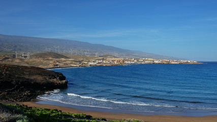 Playa Poris de Abona, a small beach in the south-eastern part of island of Tenerife with sunny sky and great temperatures, favored by the European tourists in the winter, cold season, Canary Islands