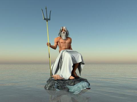 3d illustration of the god Neptune