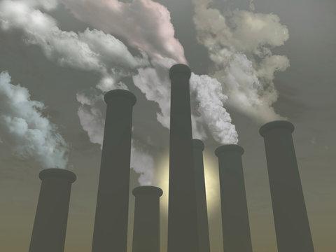 Chimneys expelling polluting smoke
