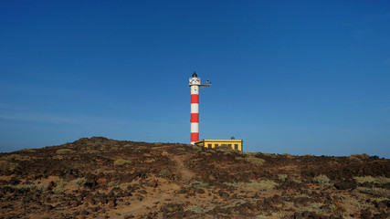 Faro De Poris, Punta de Abona, an active lighthouse located between Abades and Poris de Abona, in the municipality of Arico, centered and surrounded by arid landscape, Tenerife, Canary Islands, Spain