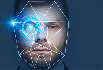 Man head with face recognition interface