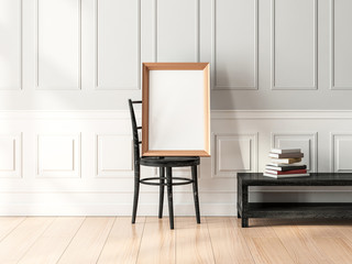 Golden poster Frame Mockup standing on the wooden chair in empty modern interior