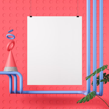 Poster over pink abstract background with cone