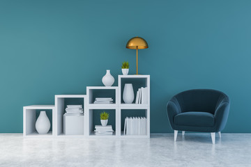 Blue living room with bookshelves and armchair