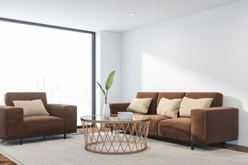 Loft living room corner with brown furniture