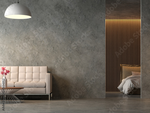 Loft Style Liveng Room And Bedroom With Polished Cocrete 3d Render