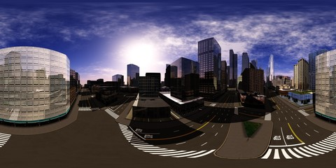 HDRI, environment map , Round panorama, spherical panorama, equidistant projection, panorama 360, modern city