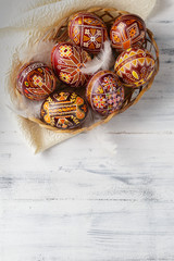 Easter eggs decorated with wax resist technique
