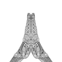 Vector Zen Tangle of a Gesture of Pray