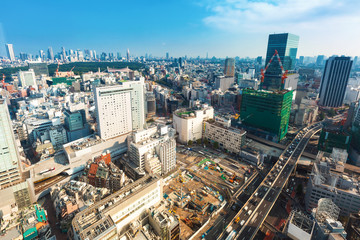 Aerial view of Shibuya, Tokyo, Japan in the morning