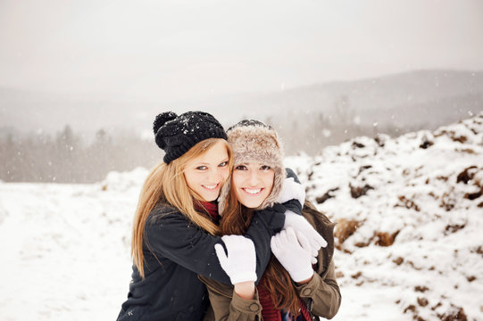 Portrait of women in winter