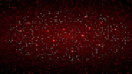 Tech Binary Code Dark Red Background. Cyber Attack Wall mural