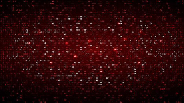 Tech Binary Code Dark Red Background. Cyber Attack
