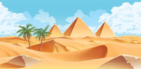 Horizontal background with desert and palms. Pyramids on the horizon.