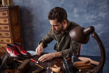 active guy working with textile, close up photo