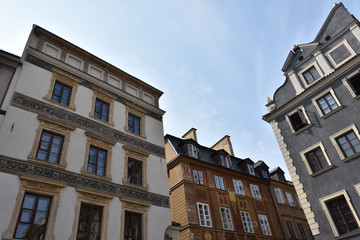 Beautiful medieval colorful houses in the old town of Warsaw, Poland