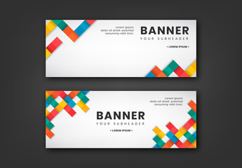 Social Media Banner Layouts with Colorful Squares