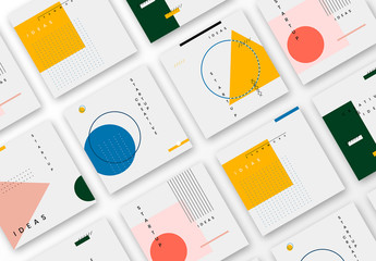 Social Media Post Layouts with Thin Linework and Colorful Geometric Shapes