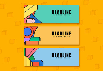 Social Media Banner Layouts with Colorful Geometric Shapes